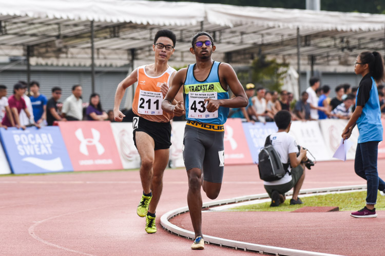 Kiranraj Suresh (#435) of Trackstar Athletics came in fourth overall in the Men's 1500m with a time of 4:22.79. (Photo 1 © Iman Hashim/Red Sports)