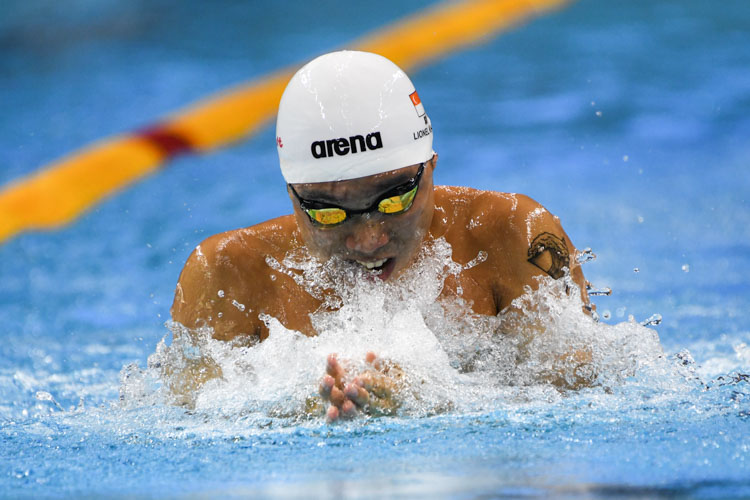 Lionel Khoo won the Men's 50m Breaststroke event with a time of 28.21s at the 15th SNSC 2019 competitions. (Photo 1 © Stefanus Ian/Red Sports)