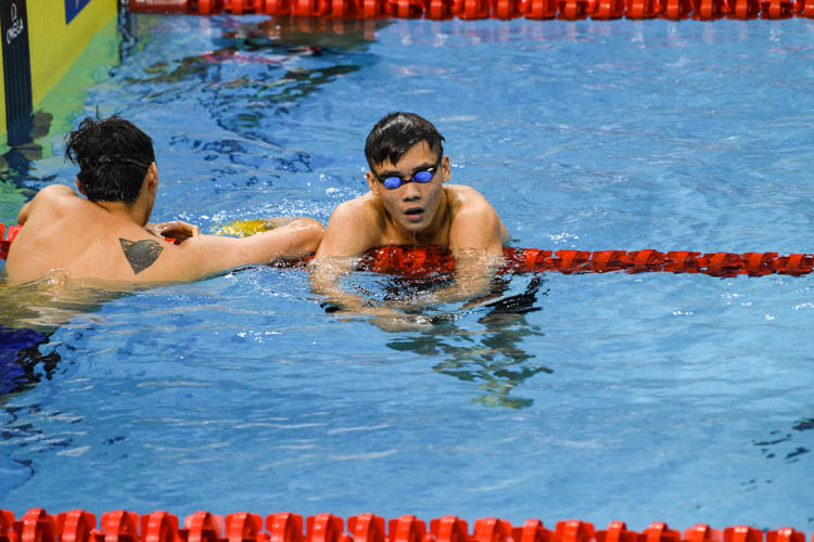 Glen Lim reacting after clinching silver in the Men's 400m Freestyle race with a time of 3:55.67 at the 15th SNSC 2019 competition.