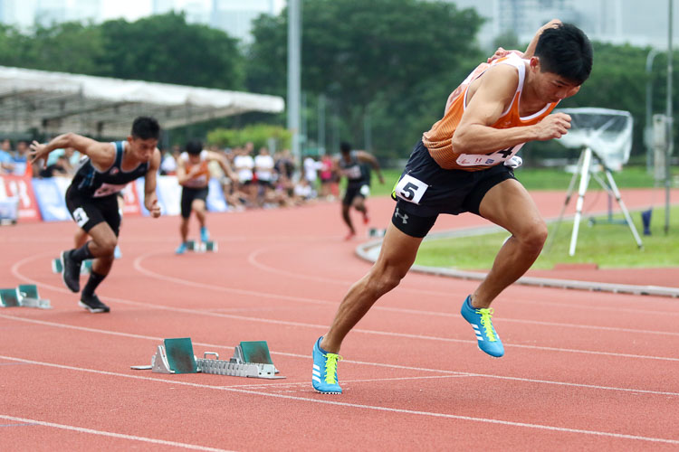 Koh Wei Shien (#214) of NUS finished second in the Men's 400m final with a time of 52.16s. (Photo 48 © Clara Lau/Red Sports)