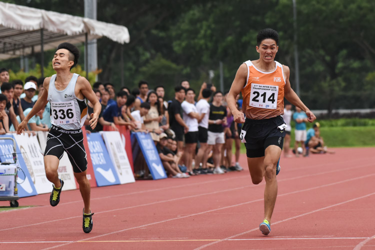 Koh Wei Shien (#214) of NUS came in second in the Men's 400m final with a time of 52.16s while Shawn Lee (#336) of SIM finished with the bronze in 52.22s. (Photo 1 © Iman Hashim/Red Sports)