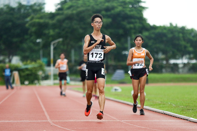 Jing Cheng Ng (#172) of NTU won the Mixed 5000m Race Walk with a time of 24:26.49. (Photo 43 © Clara Lau/Red Sports)