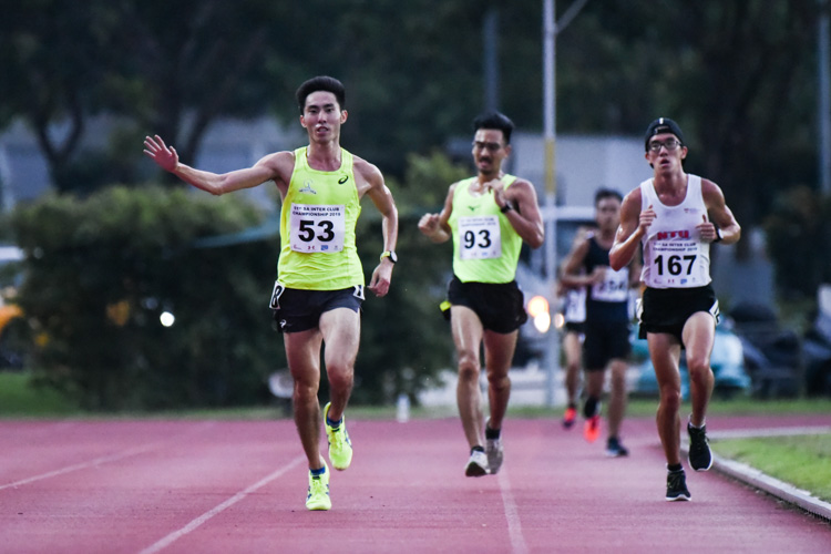 Soh Rui Yong (#53) celebrates his win in the Men's 5000m. (Photo 1 © Iman Hashim/Red Sports)