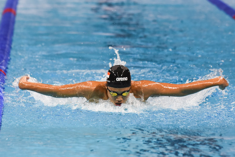 Gabriel Koo, 14, finished seventh in the Men's 200m Butterfly A-final with a time of 2:09.79. (Photo 1 © Iman Hashim/Red Sports)