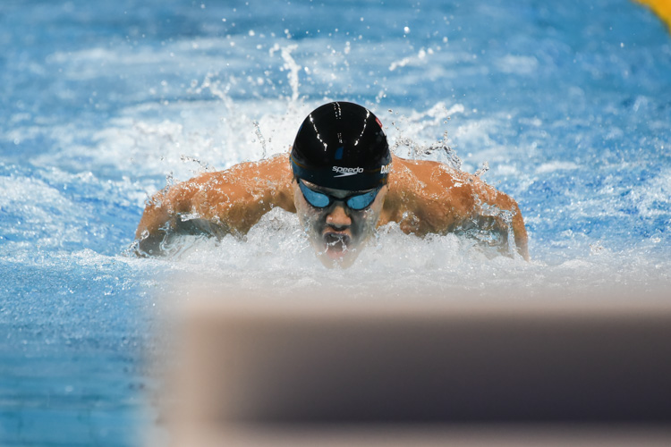 Darren Chua swimming the butterfly leg in the Men's 200m Individual Medley A-final. He finished second with a time of 2:04.43. (Photo 1 © Iman Hashim/Red Sports)