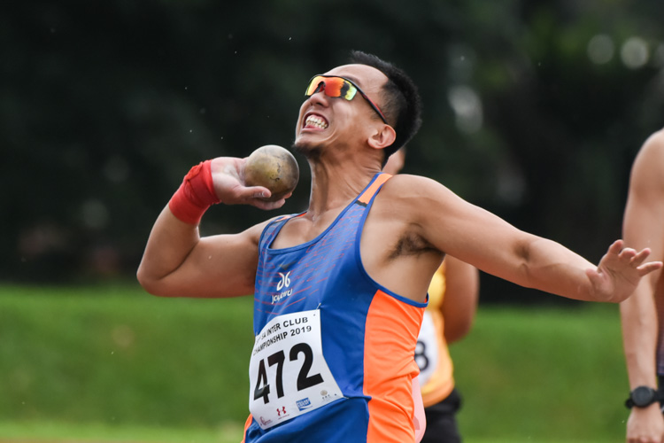 Toh Wei De of Wings Athletic Club (WAC) claimed bronze in the Men's Shot Put with a throw of 10.45m. (Photo 1 © Iman Hashim/Red Sports)