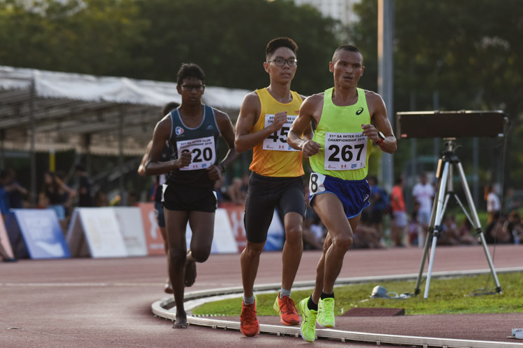 Nimesh Gurung (#267) of Police Sports Association came in first in the Men's 10,000m with a time of 32:29.74. (Photo 1 © Iman Hashim/Red Sports)