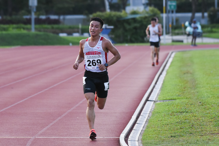 Subas Gurung (#269) of Police Sports Association came in second in the Men's 10,000m with a time of 33:21.26. (Photo 1 © Iman Hashim/Red Sports)