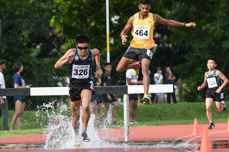 Fang Yiyang (#326) of SAFSA finished third in the Men's 3000m Steeplechase with a time of 10:57.88. (Photo 1 © Iman Hashim/Red Sports)