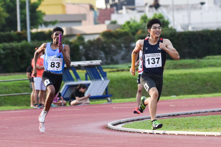 Samuel Lee (#137) anchoring NYP in the Men's 4x400m Relay timed finals. His team came in fourth overall. (Photo 1 © Iman Hashim/Red Sports)