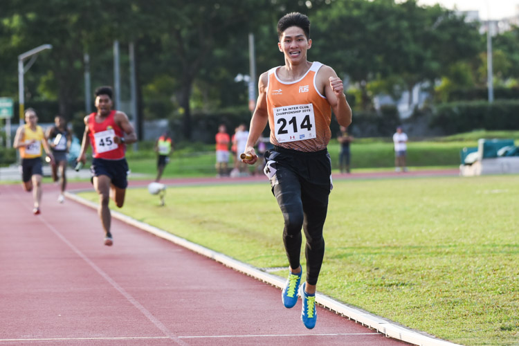 Koh Wei Shien anchoring NUS to the Men's 4x400m Relay gold stopping the clock at 3:27.69. (Photo 1 © Iman Hashim/Red Sports)