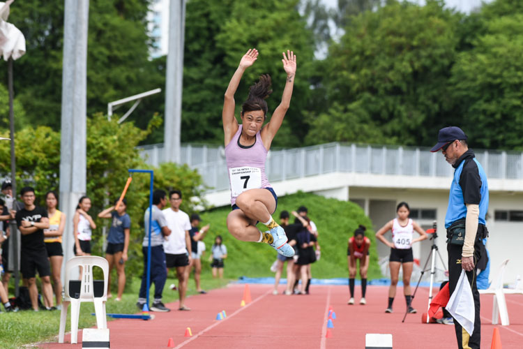 Xu Weixin of Club Zoom placed fourth in the Women's Long Jump with a leap of 4.99m. (Photo 1 © Iman Hashim/Red Sports)
