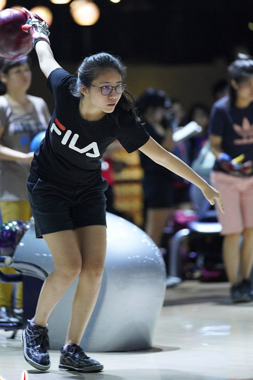 Adelia in action. She will be competing in her first World Deaf Bowling Championship in August 2019. (Photo courtesy of Deaf Sports Association)