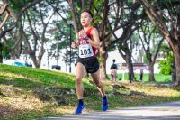 Aaron Justin Tan (#101) finished second in the Men's race with a time of 19:06 over the approximately 5.8-kilometre route to lead NTU to their first team title in eight years. (Photo 1 © Iman Hashim/Red Sports)