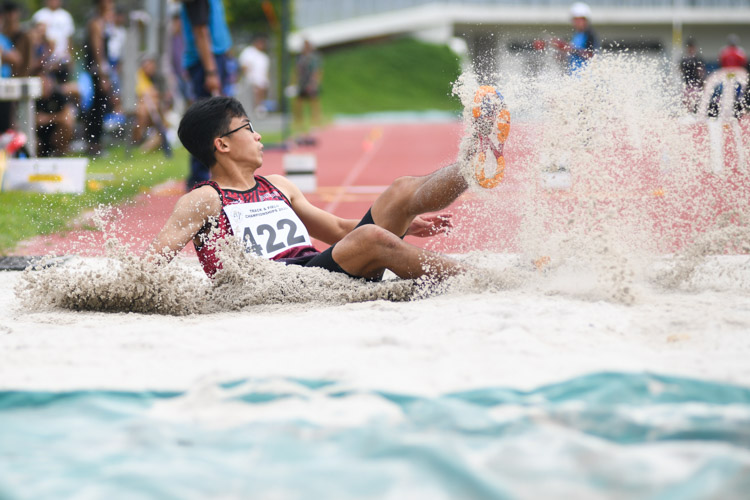 Ivan Mun of Singapore University of Technology and Design jumped a final distance of 13.60m to finish second in the Institute-Varsity-Polytechnic Men's triple jump event. (Photo 1 © Stefanus Ian)