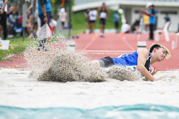 Dyfrig Lim of Ngee Ann Polytechnic jumped a final distance of 12.40m to finish fifth in the Institute-Varsity-Polytechnic Men's triple jump event. (Photo 1 © Stefanus Ian)