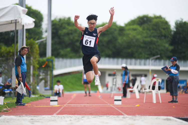 Nick Lim of Nanyang Polytechnic jumped a final distance of 1131m to finish ninth in the Institute-Varsity-Polytechnic Men's triple jump event. (Photo 1 © Stefanus Ian)