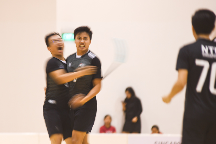 Amshar bin Amin (NTU #9) celebrating one of his goals with his teammate, Sean Toh (NTU #8). NTU put on an offensive exhibition as they demolished Team ITE, who were POL-ITE champions, with a 6-0 victory to clinch the IVP title. (Photo 1 © Stefanus Ian)