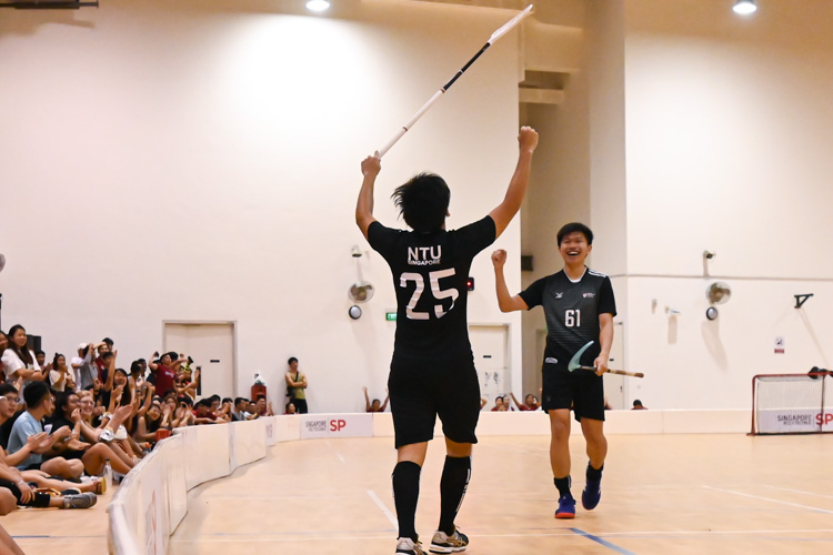 Jarryl Chan (NTU #25) lifting his arms in the air after scoring one of NTU's goals. NTU put on an offensive exhibition as they demolished Team ITE, who were POL-ITE champions, with a 6-0 victory to clinch the IVP title. (Photo 1 © Stefanus Ian)