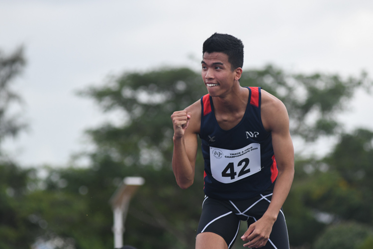 Hairul Syamil of NYP pumping his fist after a successful jump. He would go on to win the gold with a final jump of 1.96m. (Photo 1 © Stefanus Ian/Red Sports)