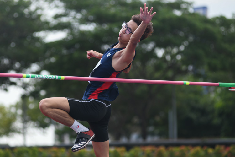 Koh Jin Hao (#95, Nanyang Polytechnic) finished sixth with a jump of 1.70m in the men's high jump event. (Photo 1 © Stefanus Ian/Red Sports)