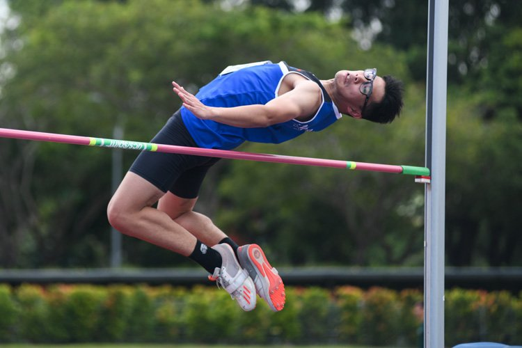 Kieron Lim (#228, Ngee Ann Polytechnic) finished seventh with a final jump of 1.65m. (Photo 1 © Stefanus Ian/Red Sports)