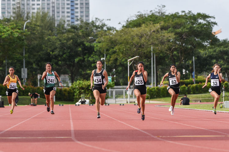 Temasek Polytechnic duo Haanee Hamkah (#428) and Gwendolyn Therese Lim (#434) finished 1-2 in the Women's 100m final with personal bests of 12.30s and 12.64s respectively. Tanisha Moghe (#82) of NTU finished third in 12.96s. (Photo 1 © Iman Hashim/Red Sports)