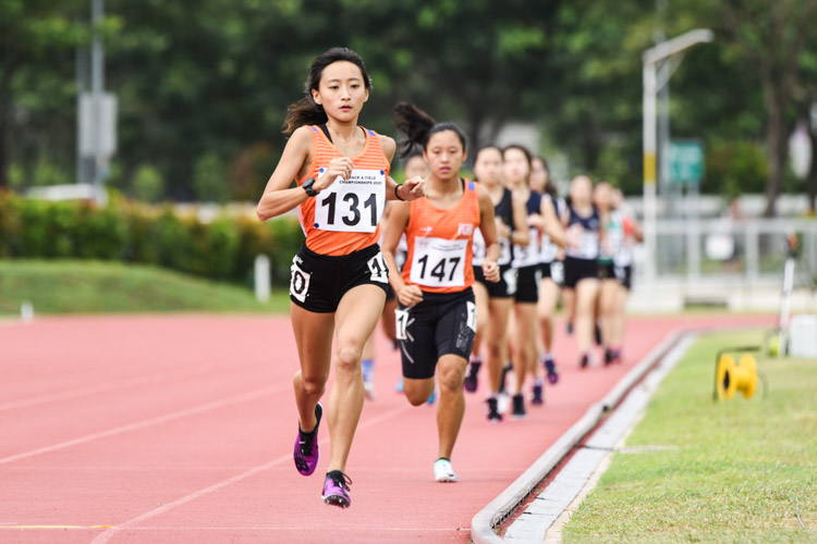 Vanessa Lee (#131) of NUS comfortably won the Women's 1500m final with a time of 4:57.15, at least 25 seconds faster than her nearest competitor. (Photo 1 © Iman Hashim/Red Sports)