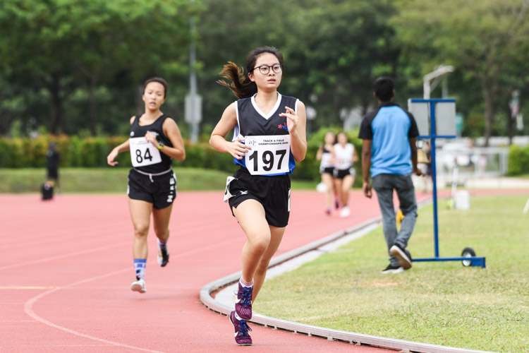 Sarah Goh (#197) of Ngee Ann Polytechnic finished fourth in the Women's 1500m with a time of 5:49.72. (Photo 1 © Iman Hashim/Red Sports)