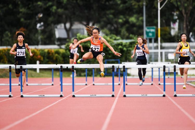 Celeste Goh (#127) of NUS won the Women's 400m Hurdles in 1:08.01, while Kang Pei Ling (#278) of SIM took the bronze in