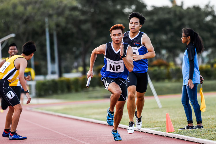 Shawn Jong on the anchor leg for NP in the Men's 4x400m Relay second timed final. (Photo 1 © Iman Hashim/Red Sports)