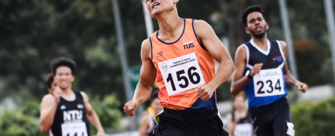 Chew Xiu Zheng (#156) of NUS finished first overall in the Men's 800m timed finals with a time of