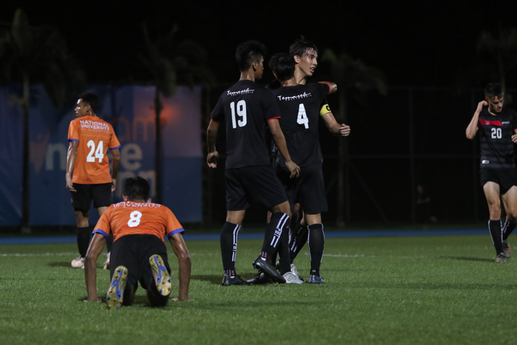 TP players celebrating their second goal. TP edge out NUS 2-1 to claim IVP Football championship. (Photo 8 © Clara Lau/Red Sports)