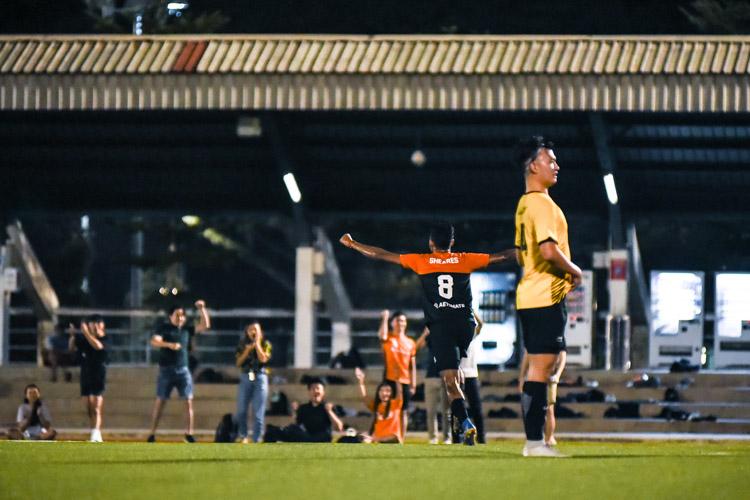 Shamir Robinson (SH #8) celebrates scoring Sheares' second goal. (Photo 1 © Iman Hashim/Red Sports)